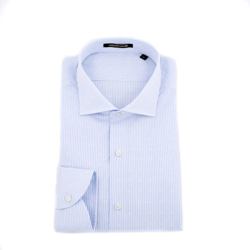 Roberto Cavalli Striped Poplin  Cotton Shirt