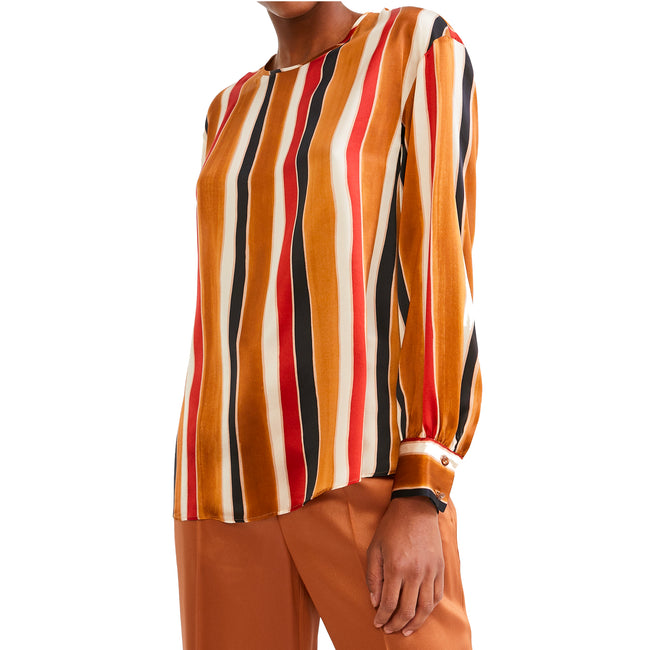 Max Mara Studio Striped Silk Satin Blouse