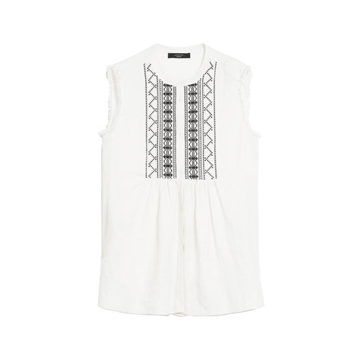 Max Mara Weekend Embroidered Linen Top