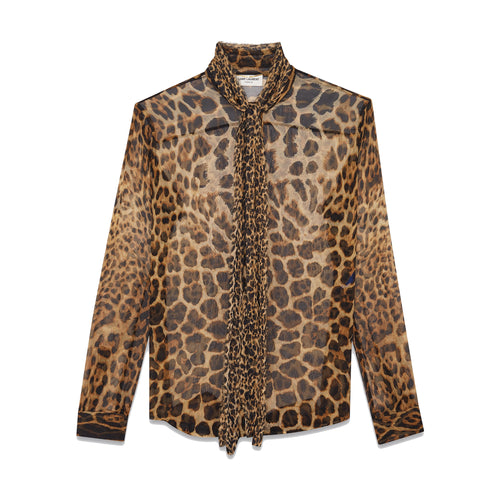 Yves Saint Laurent Tie-Neck Leopard Print Shirt