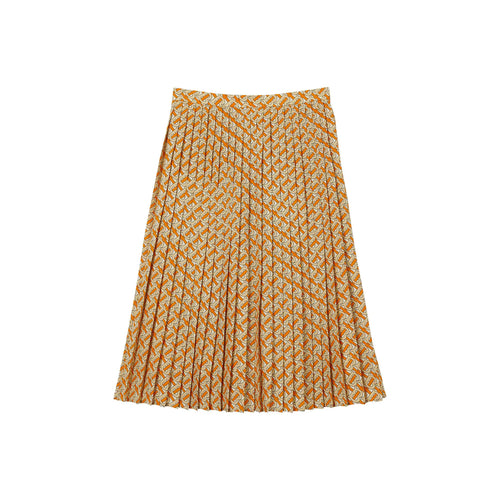 Burberry Monogram Print Pleated Skirt