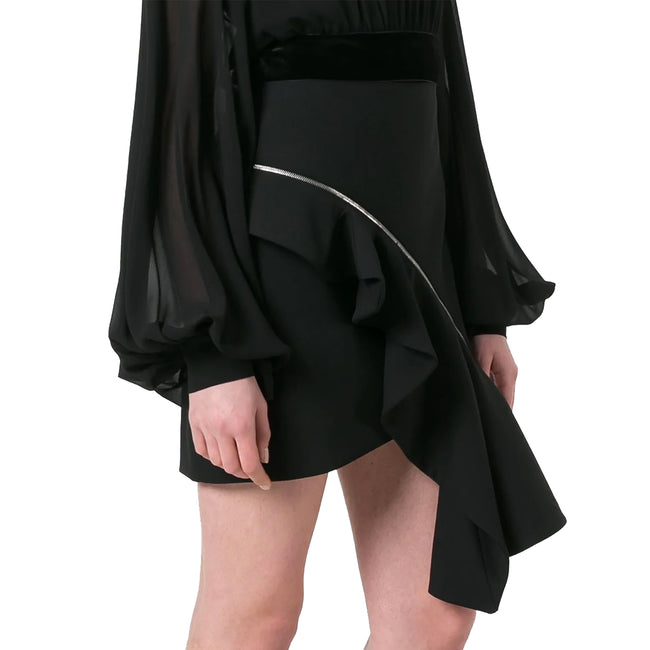 Yves Saint Laurent Zip Asymmetric Ruffle Skirt