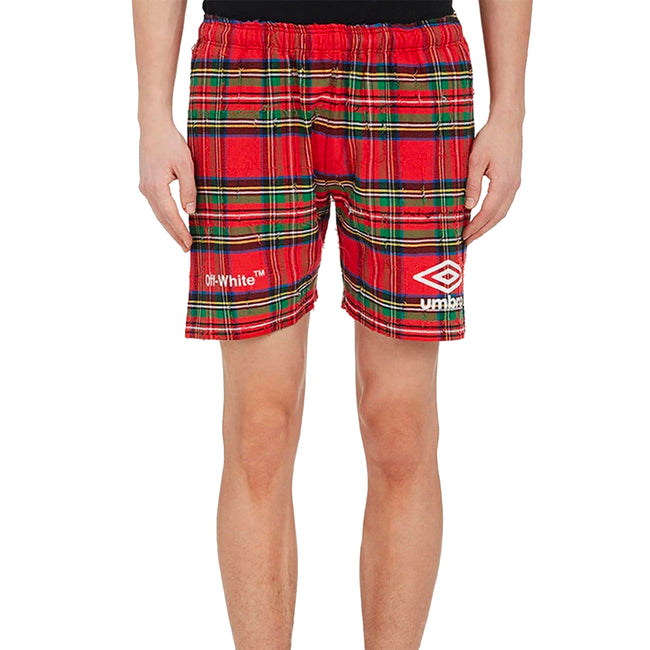 Off White Flannel Cotton Logo Shorts