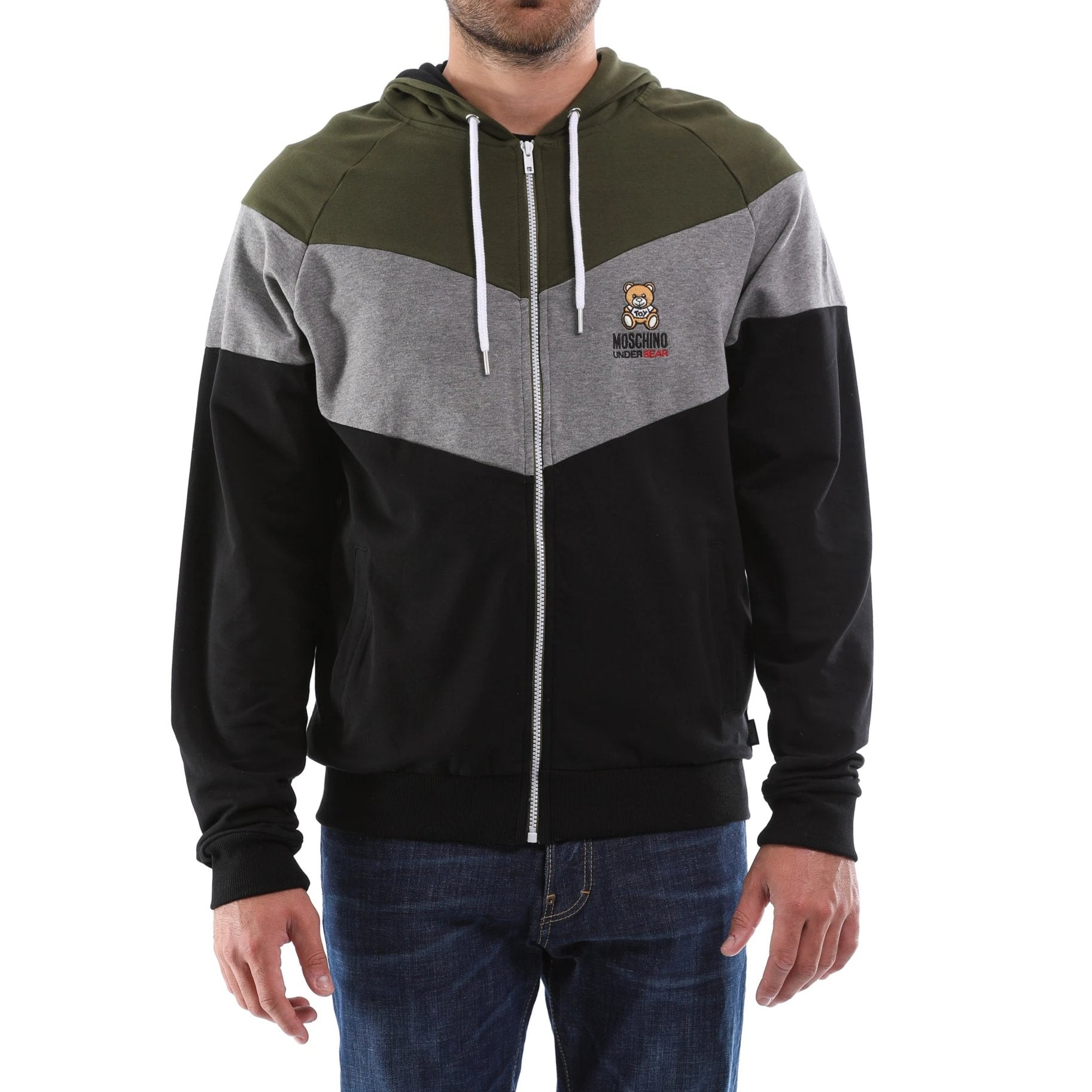 Tricolor Zipped Hoodie-MOSCHINO UNDERWEAR-SHOPATVOI.COM - Luxury Fashion Designer