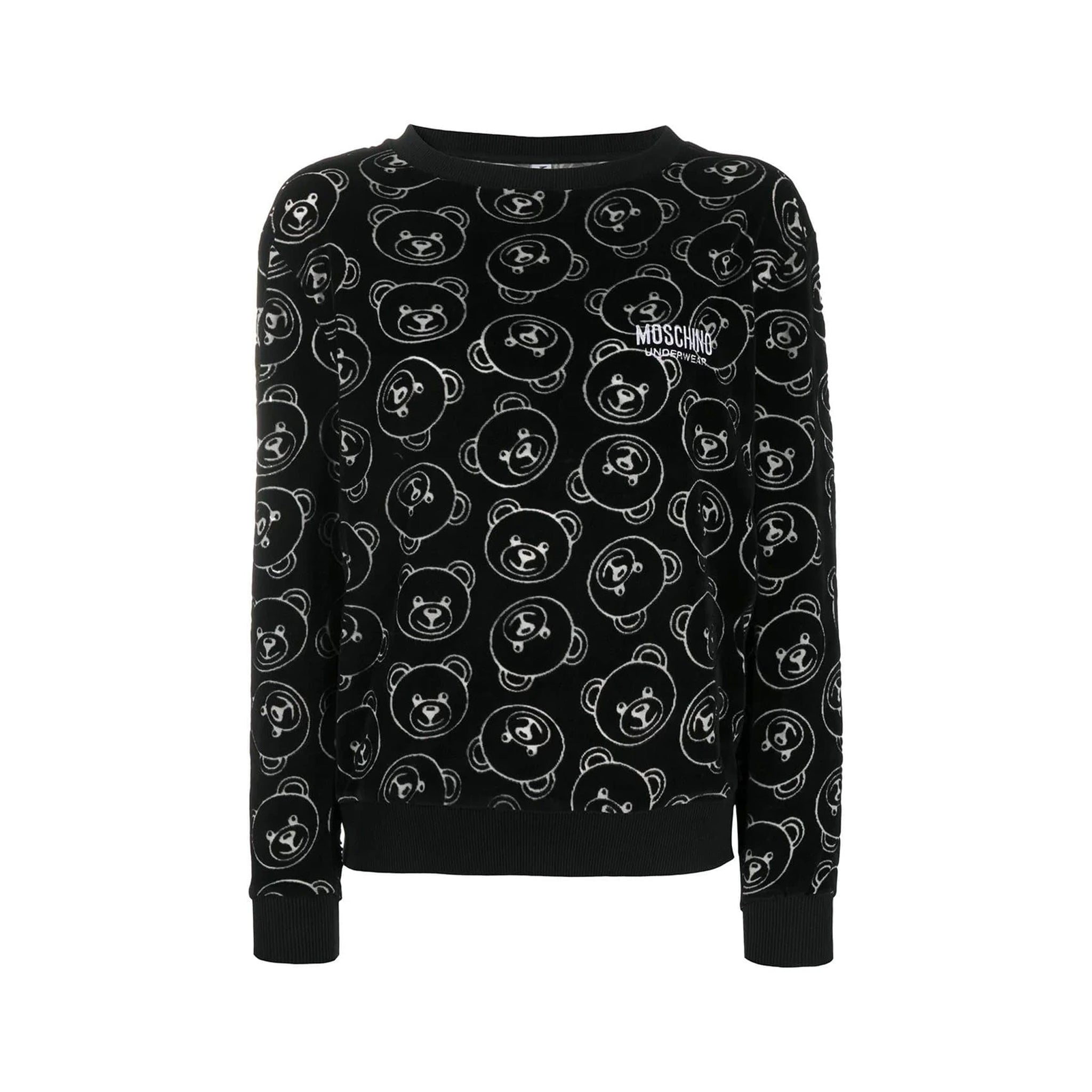 Moschino Underwear All Over Bear Velvet Sweatshirt