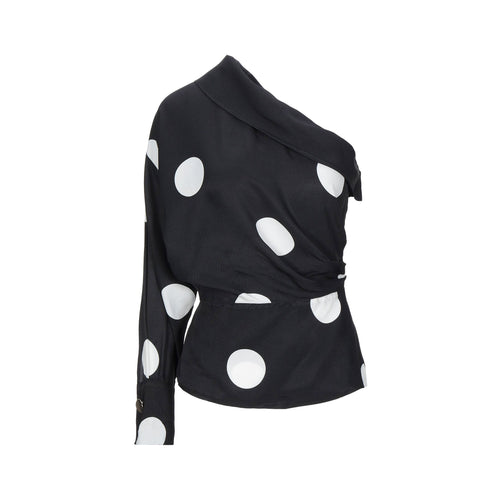 Space Simona Corsellini One Shoulder Polka Dot Top
