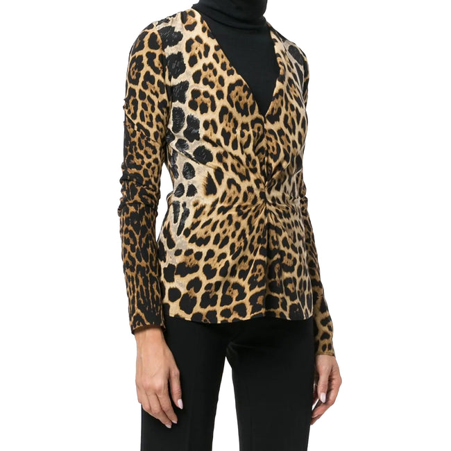 Yves Saint Laurent Leopard Print Gathered Blouse