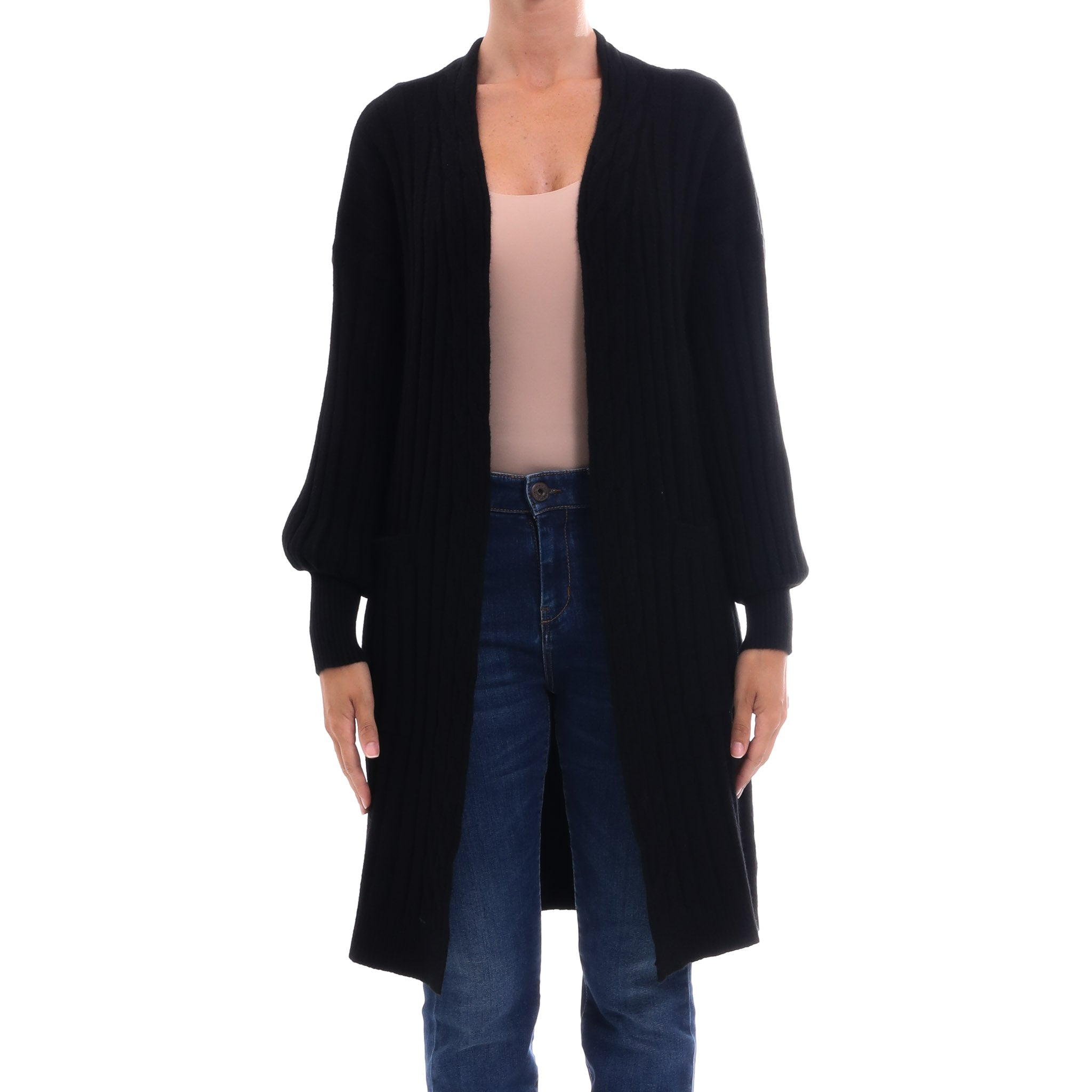 Cashmere Company Ribbed Open Cardigan
