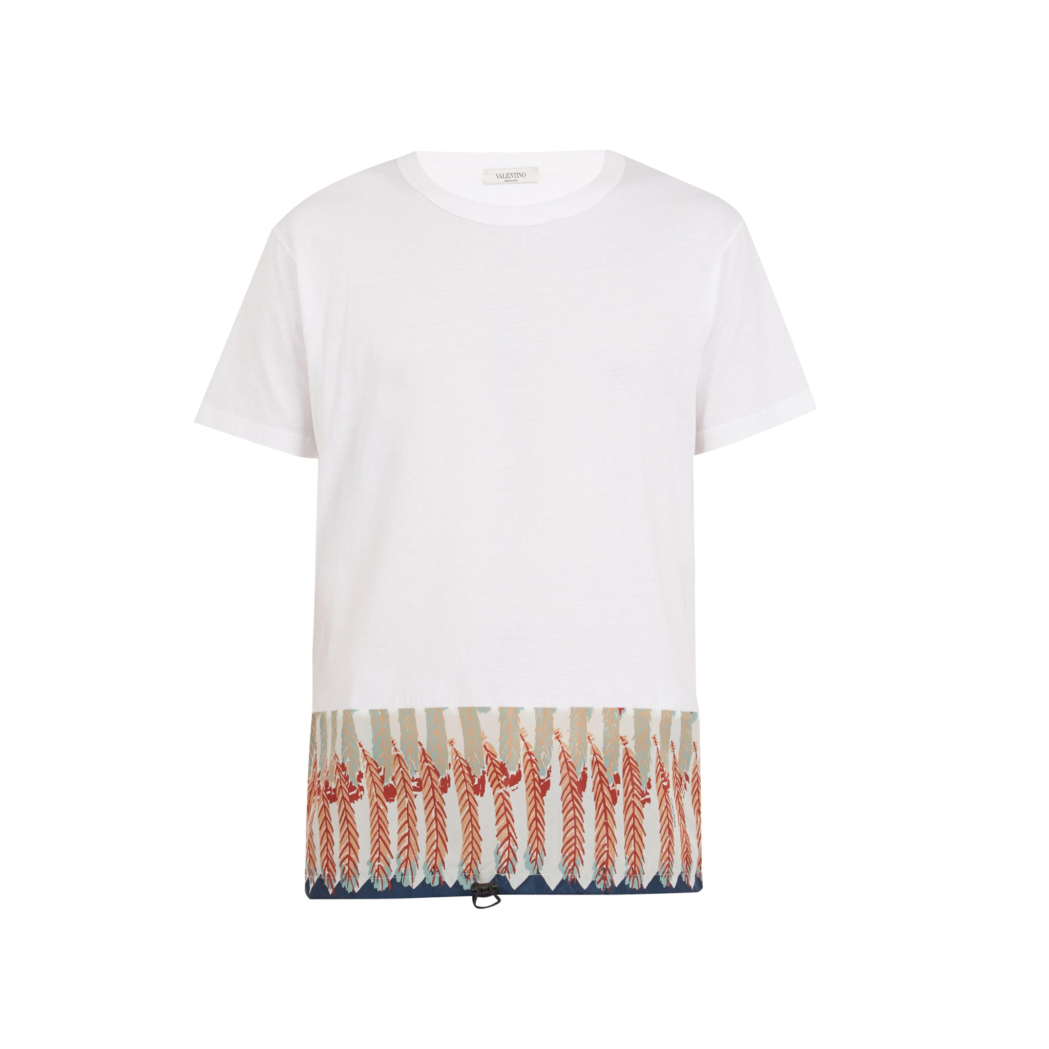 Valentino Feather Print Cotton T Shirt