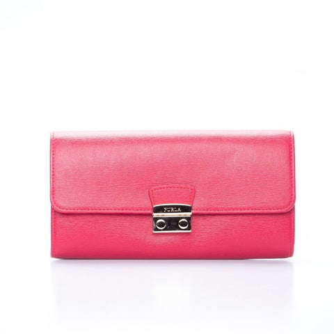 Cross Grain Leather Wallet-FURLA-SHOPATVOI.COM - Luxury Fashion Designer
