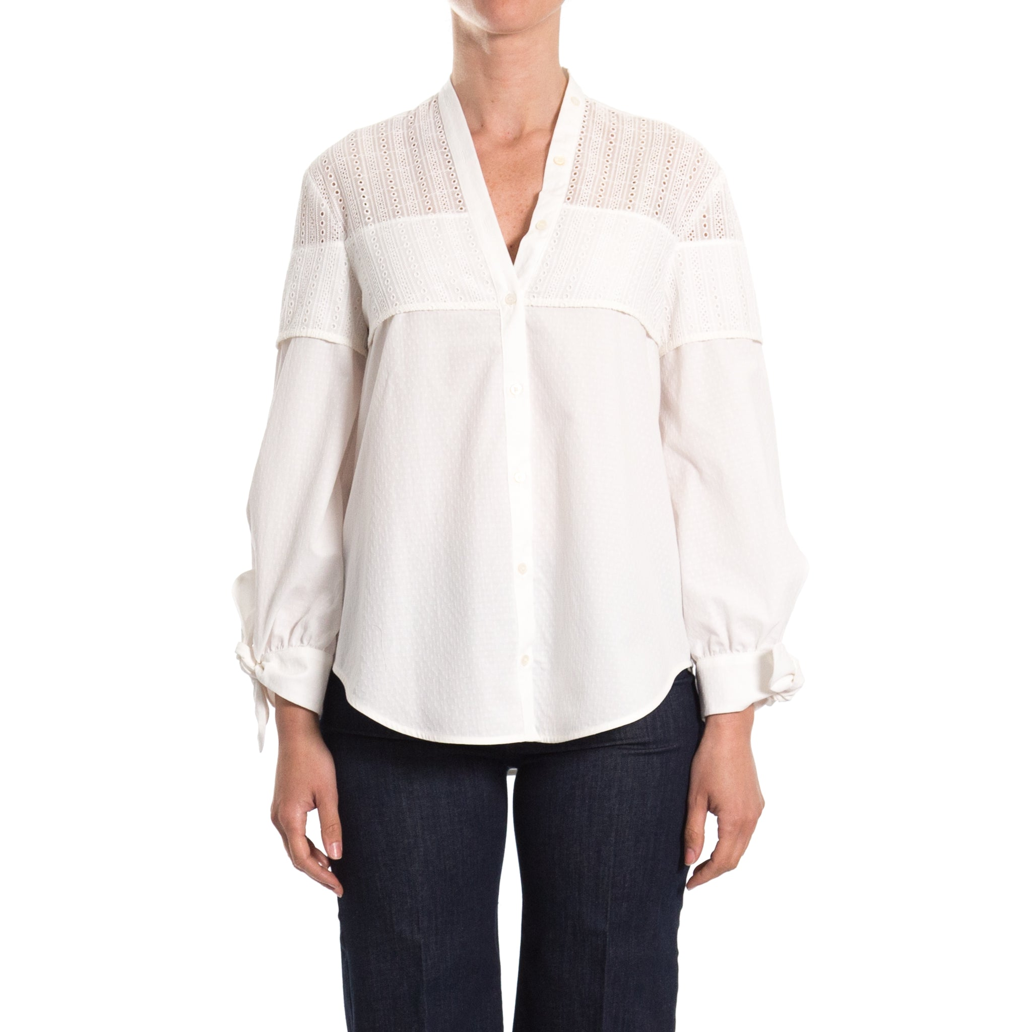 Max Mara Weekend Flared Cotton Blend Blouse-MAX MARA WEEKEND-SHOPATVOI.COM - Luxury Fashion Designer