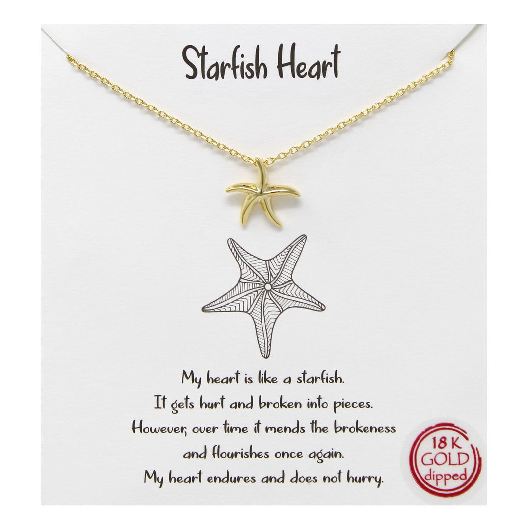Whimsy - Starfish Heart Pendant Necklace