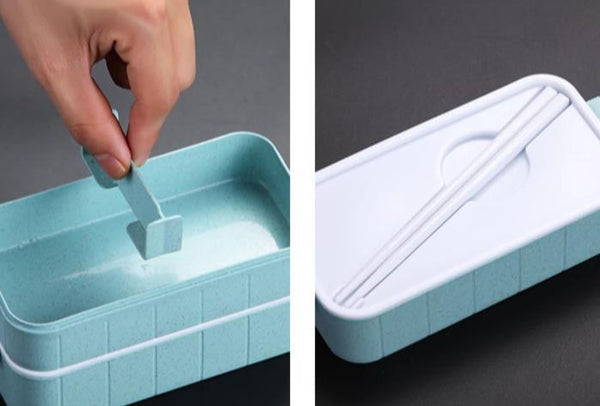 Leak-Proof Stackable Bento Box w/Chopsticks