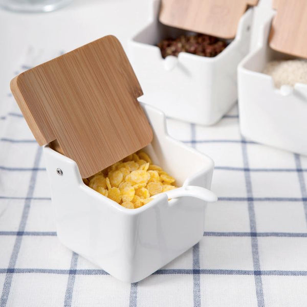 Ceramic Food Containers with Bamboo Lids