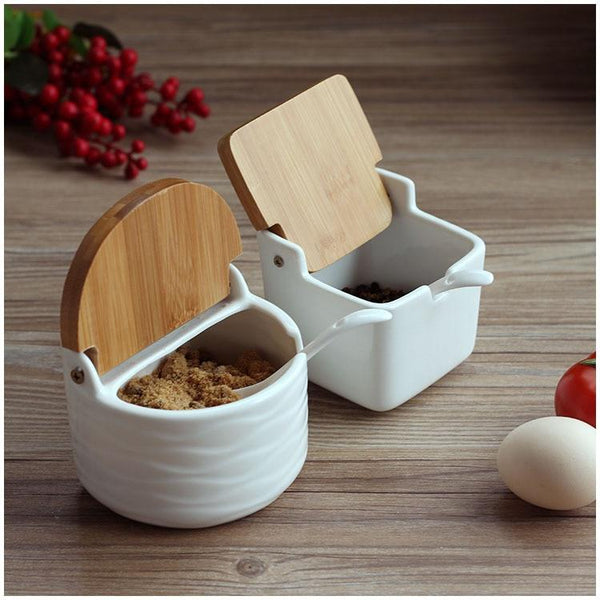 Semi-Round Ceramic Food Container with Bamboo Lids