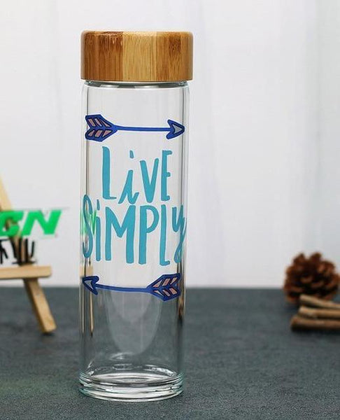 Happy Quotes Glass Bottle