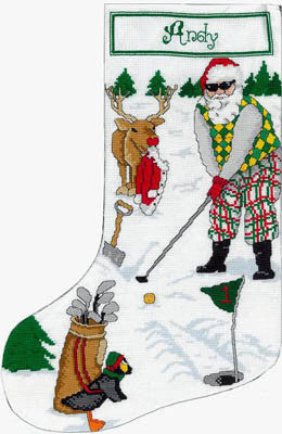 Golfing Santa Stocking - Xs and Ohs