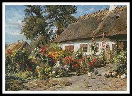 A Cottage Garden With Chickens - Artecy Cross Stitch