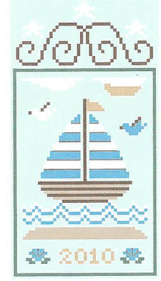 Summer Seascape 3 - Sailboat - Country Cottage Needleworks