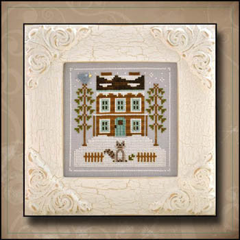 Frosty Forest 1, Raccoon Cabin - Country Cottage Needleworks