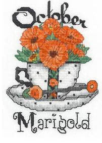 Teacup Birth Flower, October - Xs and Ohs