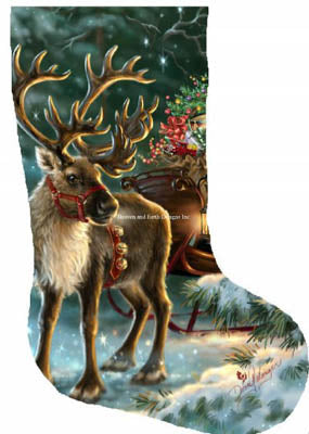 Enchanted Christmas Reindeer Stocking - Heaven and Earth Designs