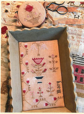 Snippets Of Mary Barres Sampler Med Sewing Tray & Needle Book - Stacy Nash Primitives