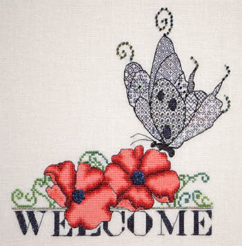 Poppy & Blackwork Butterfly Welcome - MarNic Designs