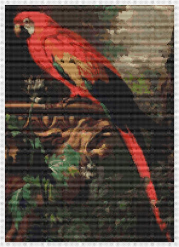 A scarlet Macaw In A Landscape - Art of Stitch, The