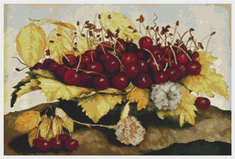 A Dish Of Cherries And Carnation - Art of Stitch, The