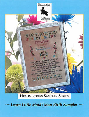 Learn Little Maid/Man Birth Sampler - Cross Stitch Antiques