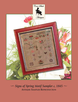 Signs Of Spring Motif Sampler Circa 1845 - Cross Stitch Antiques