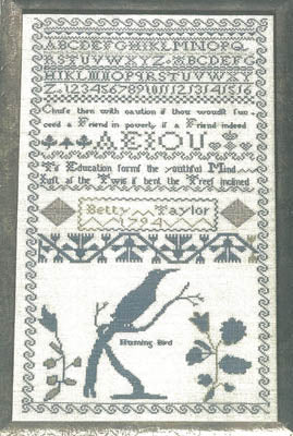 Betty Taylor's 1794 Reproduction Sampler - Gentle Pursuit Designs