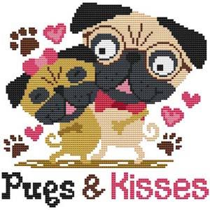 Pugs & Kisses - Cross Stitch Wonders
