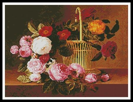A Basket Of Roses On A Ledge - Artecy Cross Stitch
