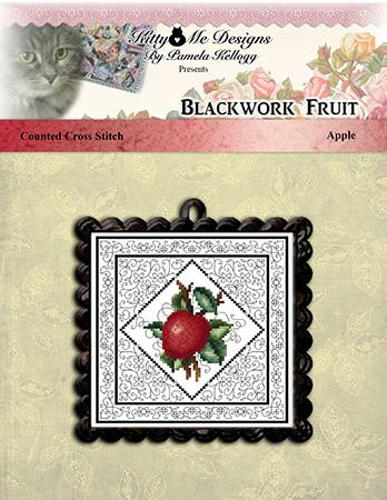 Blackwork Fruit Apple - Kitty & Me Designs