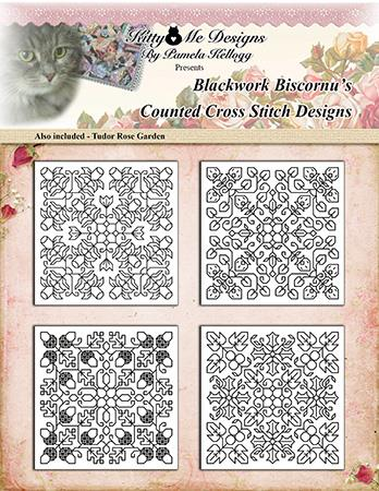Blackwork Biscornu Ornaments - Kitty & Me Designs