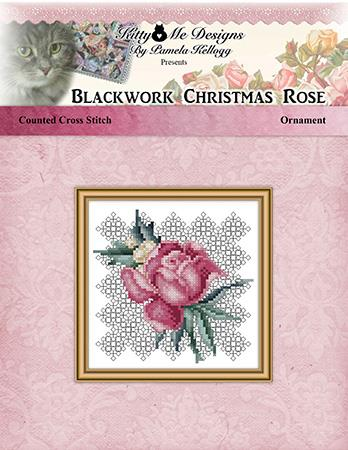 Blackwork Christmas Rose Ornament - Kitty & Me Designs