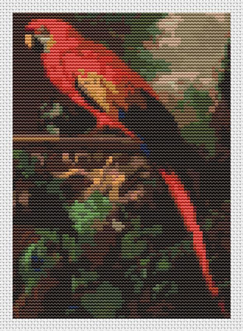 A Scarlet Macaw In A Landscape (Mini Chart) - Art of Stitch, The