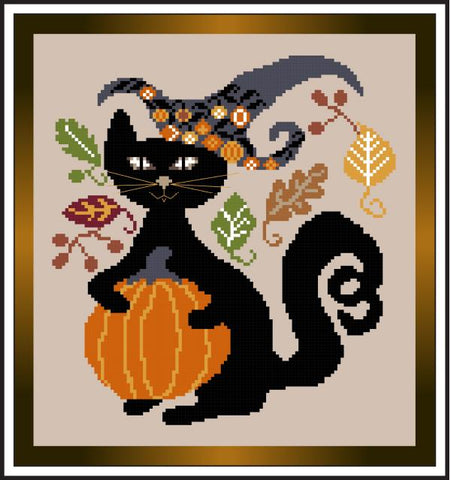 Fall Black Cat - Stitch N Needs
