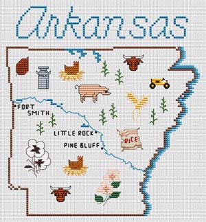 Arkansas Map - Sue Hillis Designs