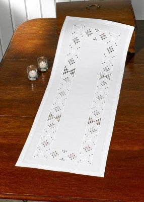 Hardanger White Table Runner - Permin