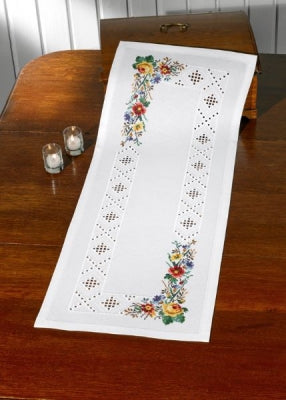 Hardanger Flowers Table Runner - Permin