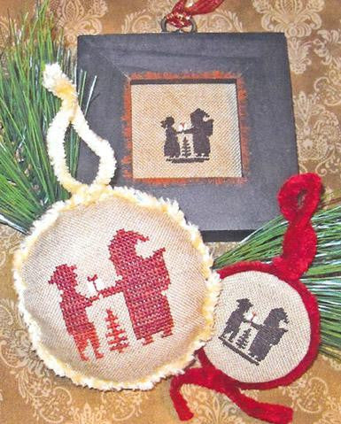 Santa & the Children Silhouettes  - Homespun Elegance