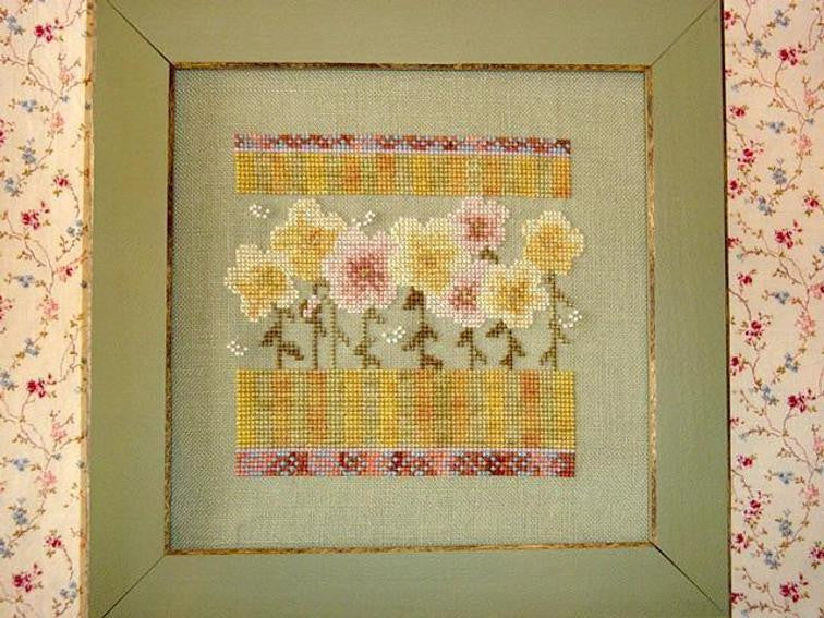 Wildflowers in Sage and Stripes - Country Garden Stitchery