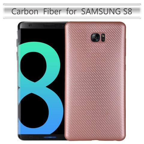 Samsung Cases rose gold / soft shell Carbon Fiber Soft Back Cover For Samsung Galaxy S8 Phone