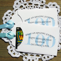 Our 100 year old birthday party favors are personalized and very unique.