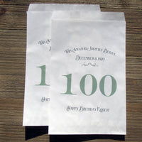 100th Birthday Favor Bags Green