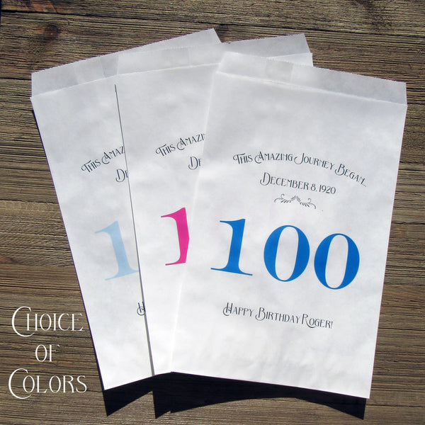 These personalized 100th birthday favor bags for adult parties can be filled with candy or cookies