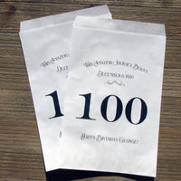 100th Birthday Favor Bags Black
